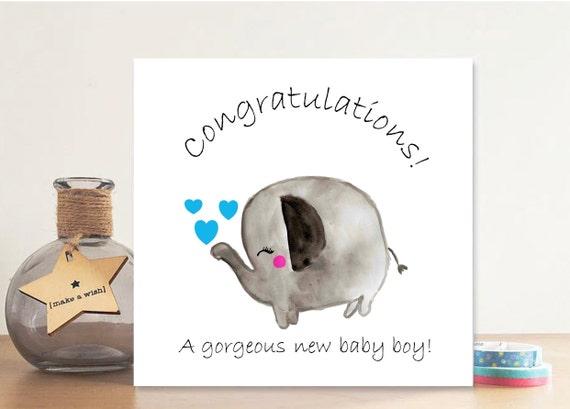 Baby Boy Piggy  Baby Boy  Blue  Pink  Animal Art  Greeting Card  Announcement  Blank Inside