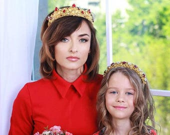 MINI ME mother's day crown, 2 Tiaras, Mother daughter headbands, Mom and Daughter Headpieces, wedding crown, bridal tiara, Family look