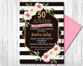 SPANISH Surprise 50th Birthday Invitation Women Any Age Boho Floral Invite Printable Digital File