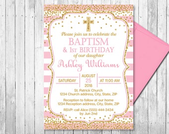 Baptism and birthday invitation etsy pink and gold baptism and first birthday invitation girl christening invitations first birthday invitation confetti printable filmwisefo