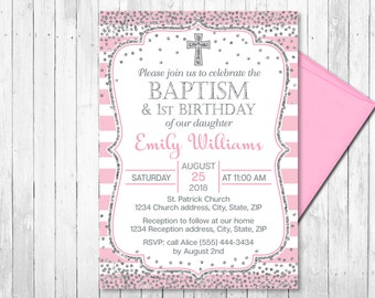 Baptism and birthday invitation etsy pink and silver baptism and first birthday invitation girl christening invite first birthday invitation confetti printable filmwisefo