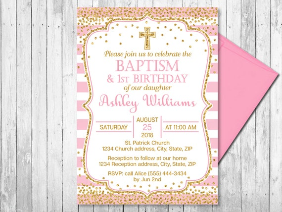 Pink and gold baptism and first birthday invitation girl etsy image 0 filmwisefo