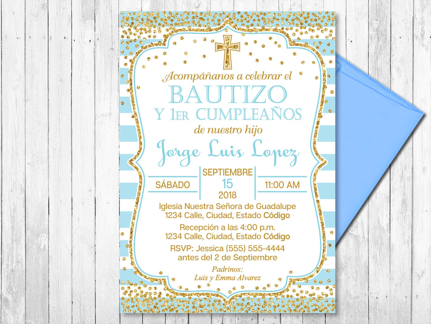 SPANISH Blue and Gold Baptism and First Birthday Invitation   Etsy