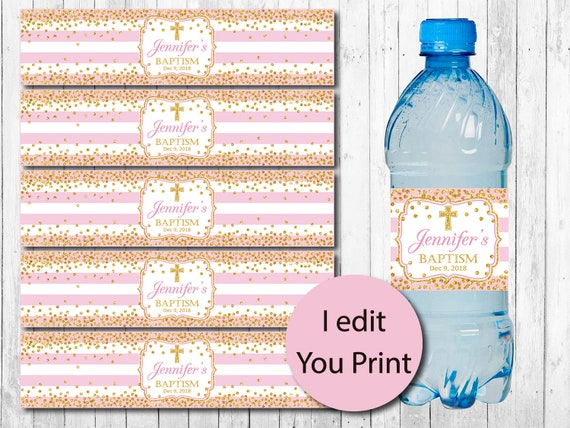Printable Baptism Water Bottle Labels Girl Christening Pink And Gold Baptism Bottle Wrappers Digital File Baptism Decoration