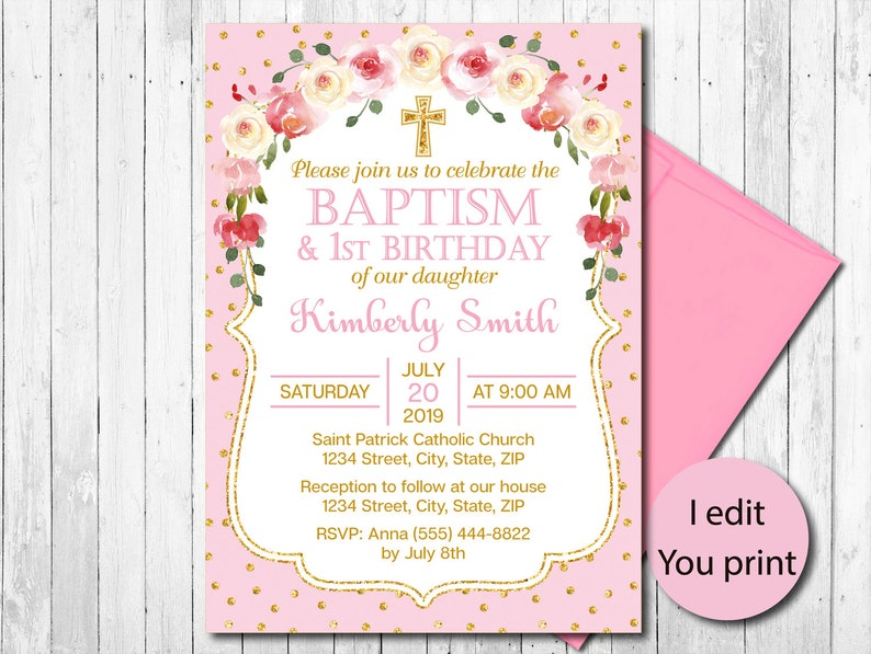 Pink And Gold Floral Baptism And First Birthday Invitation Girl Christening Invite 1st Birthday Invitation Watercolor Flowers Printable