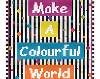Make a colourful world, Cross Stitch Pattern, pdf, Modern Cross Stitch Pattern, Stitch Pattern, PDF Format, Instant Download, qoute