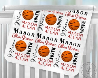 e7620bff7fe Basketball Baby Blanket Personalized with baby name in Red and Black or  Choose your colors