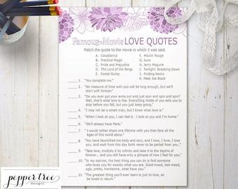 purple famous movie love quotes cards bridal shower activity purple floral flower printable bridal shower activity pd02