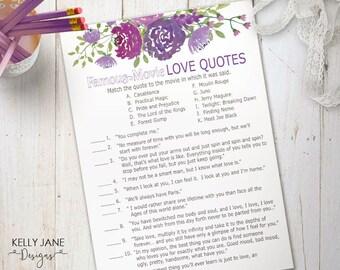 purple floral bridal shower game famous movie love quotes cards activity card purple floral printable bridal shower melanie01