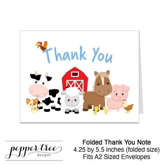 farm theme thank you note blue thank you card blank inside a2