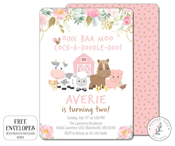 Floral Farm Animals Birthday Invitation Oink Baa Moo Cock A Doodle Doo Turning Two Barnyard Pink With Flowers 2nd Or Any Age