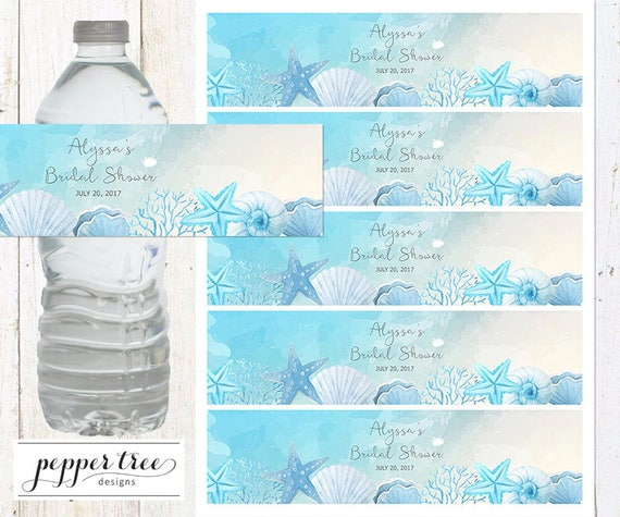 Ocean Theme Water Bottle Label Personalized Bridal Shower
