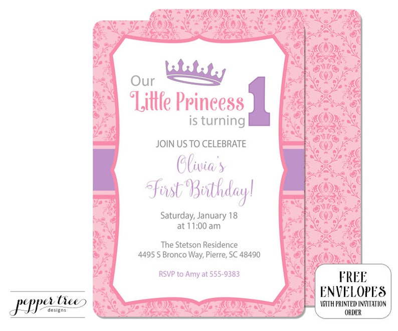 First Birthday Invitation For Girl Little Princess Is Turning