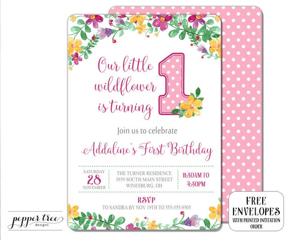 Our Little Wildflower First Birthday Invitation