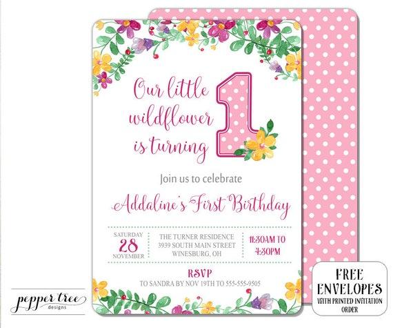 Our Little Wildflower First Birthday Invitation