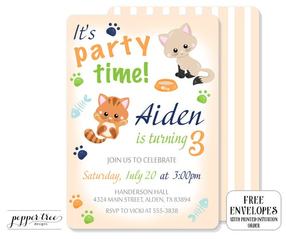 Boy Kitten Birthday Invitation Cat Birthday Party Invitation