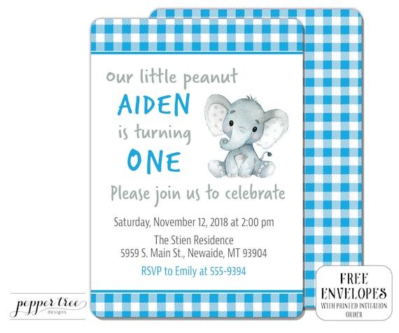 Elephant Birthday Invitation For Boy With Gingham Plaid