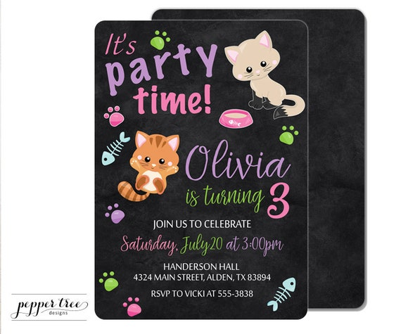 Kittens Birthday Invitation In Pink With Black Background Cat