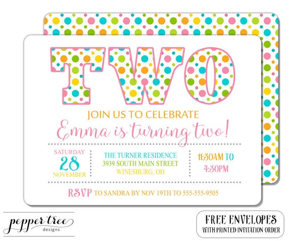 Second Birthday Invitation For Girl Polka Dots