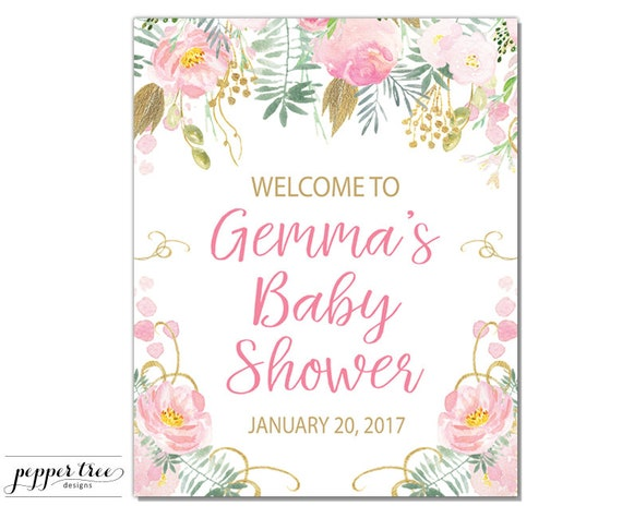 baby shower welcome sign personalized 8 x 10 inch printable