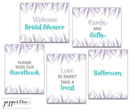 purple bridal shower sign package 8 x 10 inch printable signs