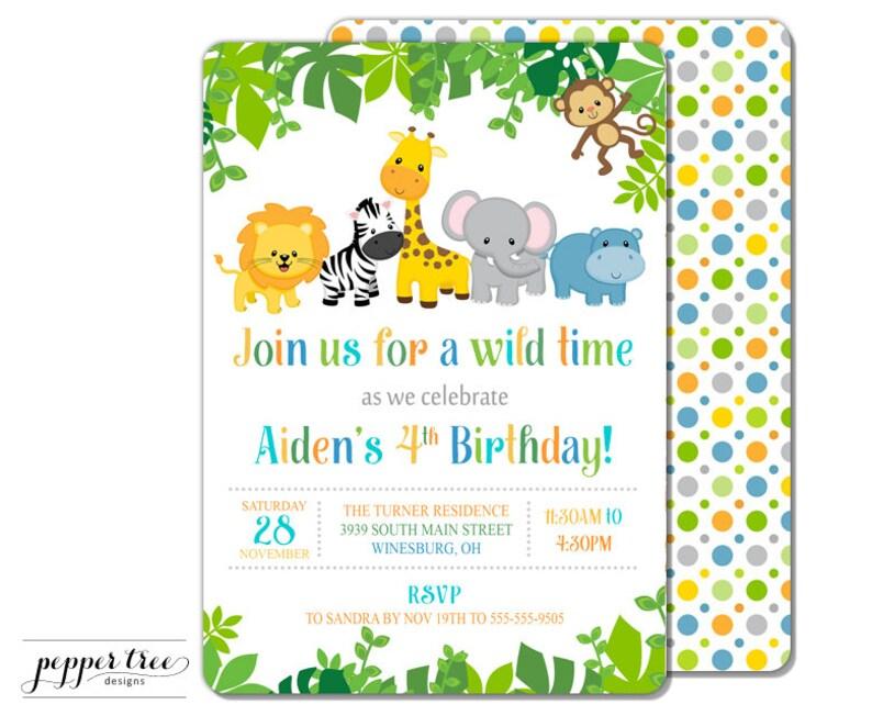 Safari Birthday Invitation Jungle Animal