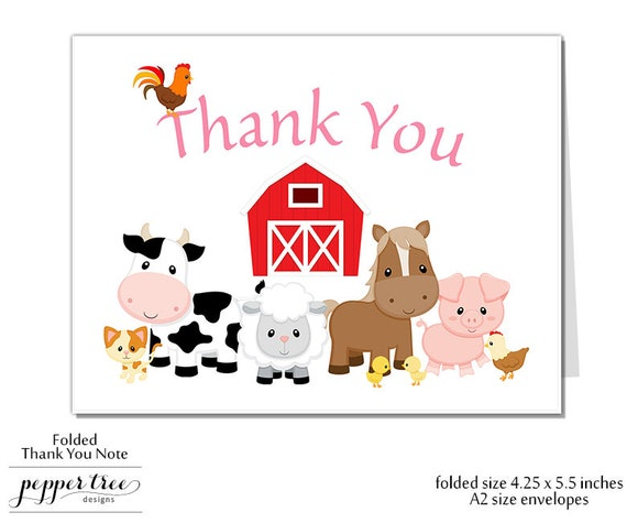 girl farm theme thank you note thank you card blank inside a2