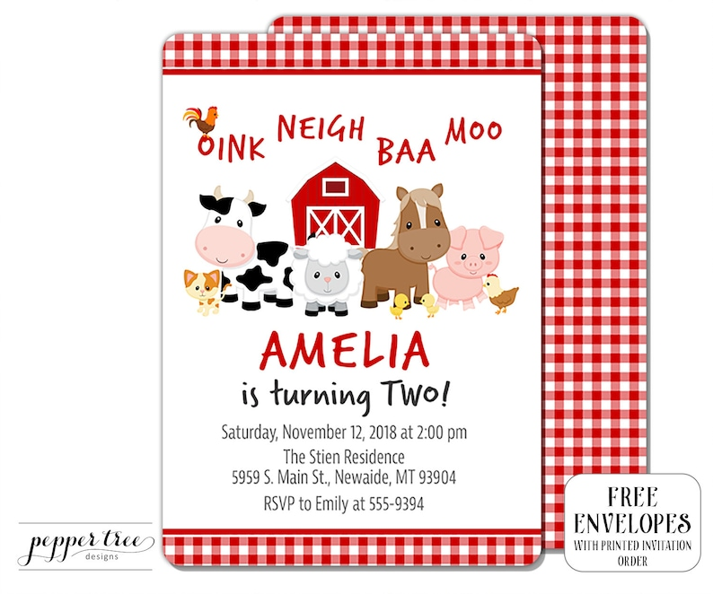 Farm Animals Birthday Invitation For Girl With Gingham Red