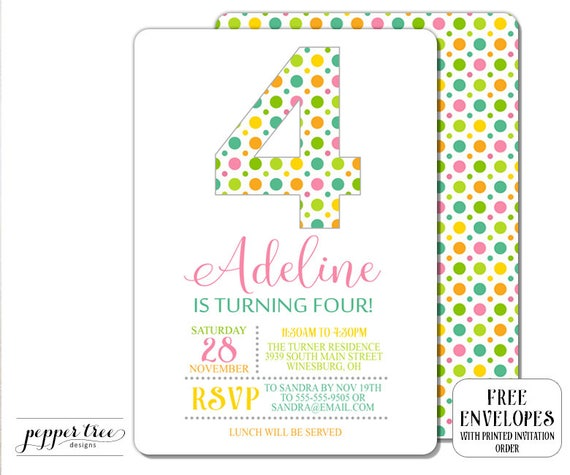 Number 4 Birthday Invitation For Girl