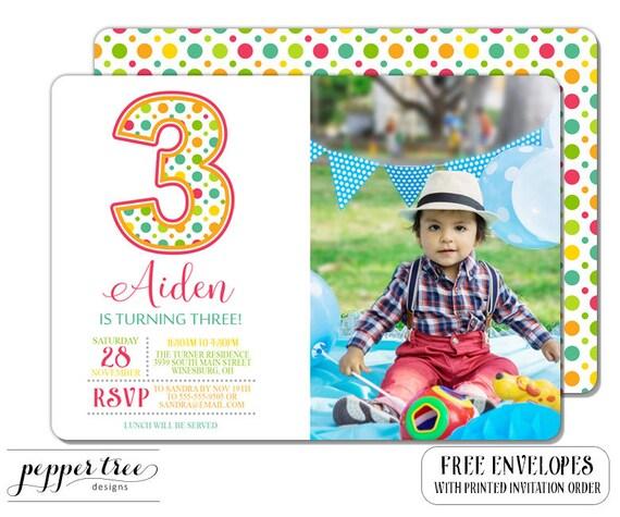 Third Birthday Photo Invitation For Girl Or Boy Polka Dots