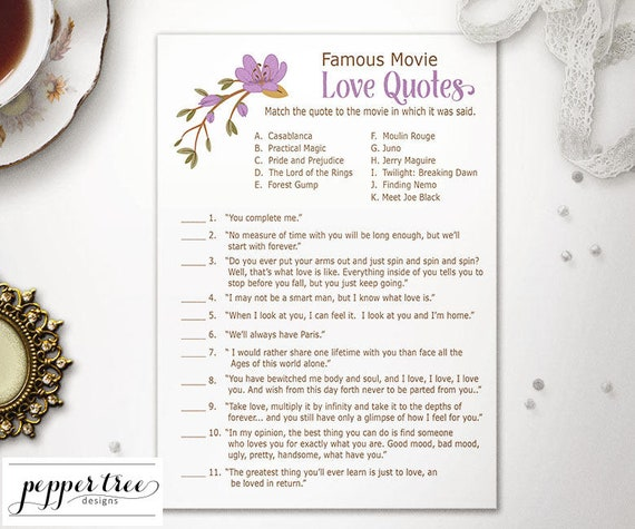 Famous Movie Love Quotes Cards Bridal Shower Activity Purple And
