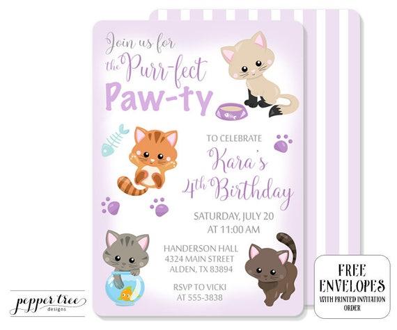 Kittens Birthday Invitation In Pink Cat Birthday Party Invitation