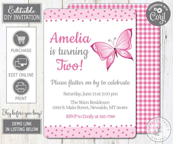 Editable Butterfly Birthday Invitation In Pink