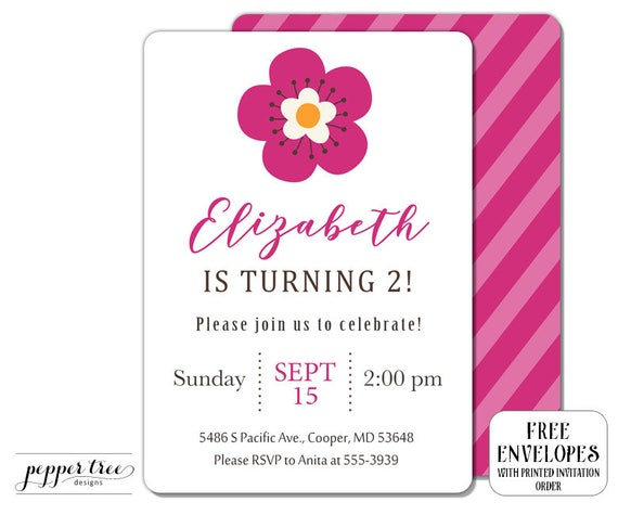 Flower Invitation For Girl Birthday