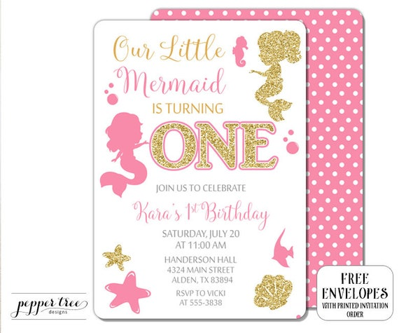 Mermaid First Birthday Invitation In Pink And Gold Glitter