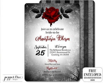 Gothic Bridal Shower Invitation in black and red - Bloodrose Invitation - Abstract Spider Web Corners  Vampire Vampyre Goth dark - GBR01