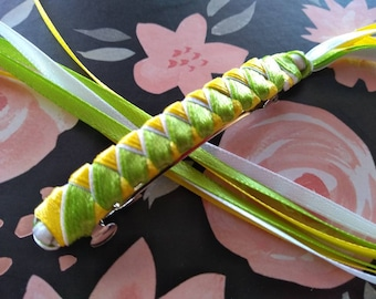 Ribbon Barrette / Lime Green, Yellow, and White