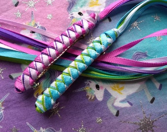 Ribbon Barrettes / Set of Two / Magenta-and-Purples and Turquoise-Blue-Lime Green