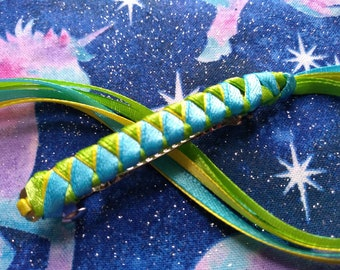 Ribbon Barrette / Light Turquoise, Lime Green, and Yellow