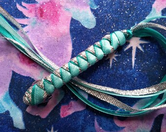Ribbon Barrette / Light Teal, Teal, and Silver