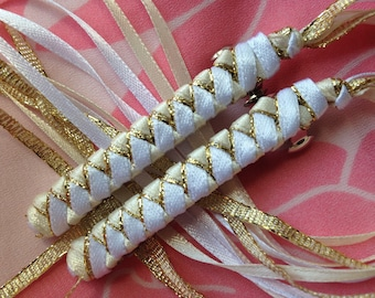 Ribbon Barrettes / Set of Two in White, Gold and Ivory