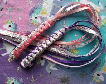 Ribbon Barrettes / Set of Two in Purples and Pinks with Silver