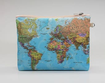 Map makeup bag etsy world map cosmetic bag makeup pouch travel bag accessory bag zipper pouch storage bag makeup bag pencil case toiletry bag gumiabroncs Image collections