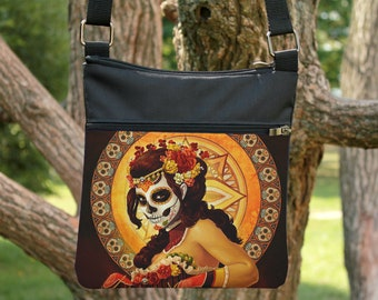 Adjustable Strap Snake Day of the Dead Red Roses Crossbody Purse Fabric Tattoos Sugar Skulls Black Medium size