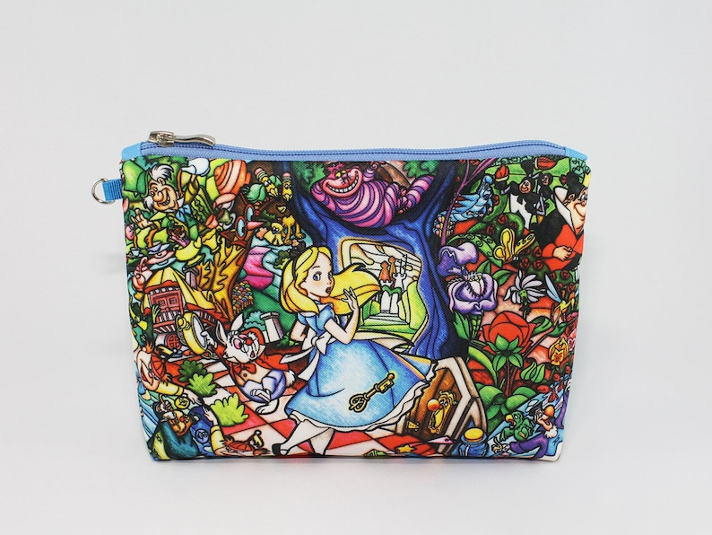 29557c6c8289 Alice in Wonderland Cosmetic Bag Makeup bag Zipper pouch Accessory bag  Travel bag Pencil Case Toiletry bag Cosmetic Case