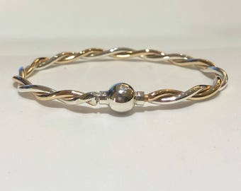 Made on Cape Cod. Bracelet with 2-tone twist gold filled/silver & silver screw ball bangle.