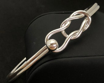 Made on Cape Cod. Bracelet with fishermans/ nautical knot, 925 silver ball & sterling silver cuff bangle