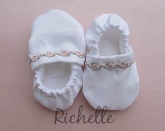 White Pink Baby Girl Shoes Baptism Blessing Christening Special Occasion Dress Silky Blush Flower Soft Sole Crib Shoes Outfit Infant Toddler