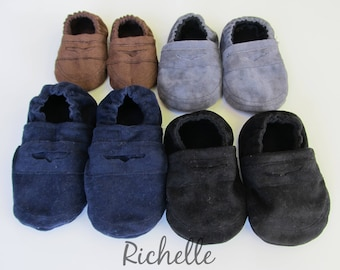 Baby Boy Dress Shoes, Baby Boy Penny Loafer Shoes, Brown Gray Black Navy Blue Soft Sole Baby Boy Booties, Baby Shower Gift, Infant Toddler