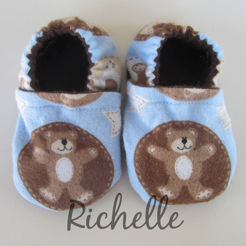 f07564d481b2e Bear Baby Shoes, Blue Brown Infant Crib Booties, Soft Sole Flannel  Slippers, Forest Theme Shower Gift Idea, Newborn Coming Home Outfit